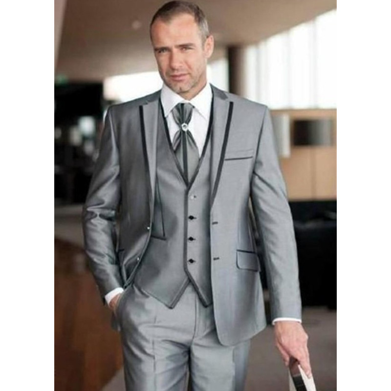 Costume Mariage Homme 2017 Custom Made Silver 3 Pieces (Jacket+Pants+Vest) Slim Fit Men Suit Tuxedo Groom Wedding Suit Big Sizes