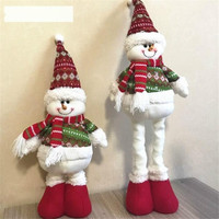Kids Christmas Toy Retractable Christmas Santa/Snowman/Reindeer Doll Christmas Decoration Xmas Tree Hang Ornament Gifts (5 Style