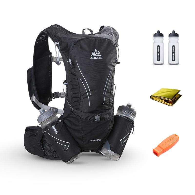 AONIJIE 15L と水分補給ベストパック 2 個 600 ミリリットルボトルランニングバッグ反射ハイキングサイクリングバックパック屋外マラソン