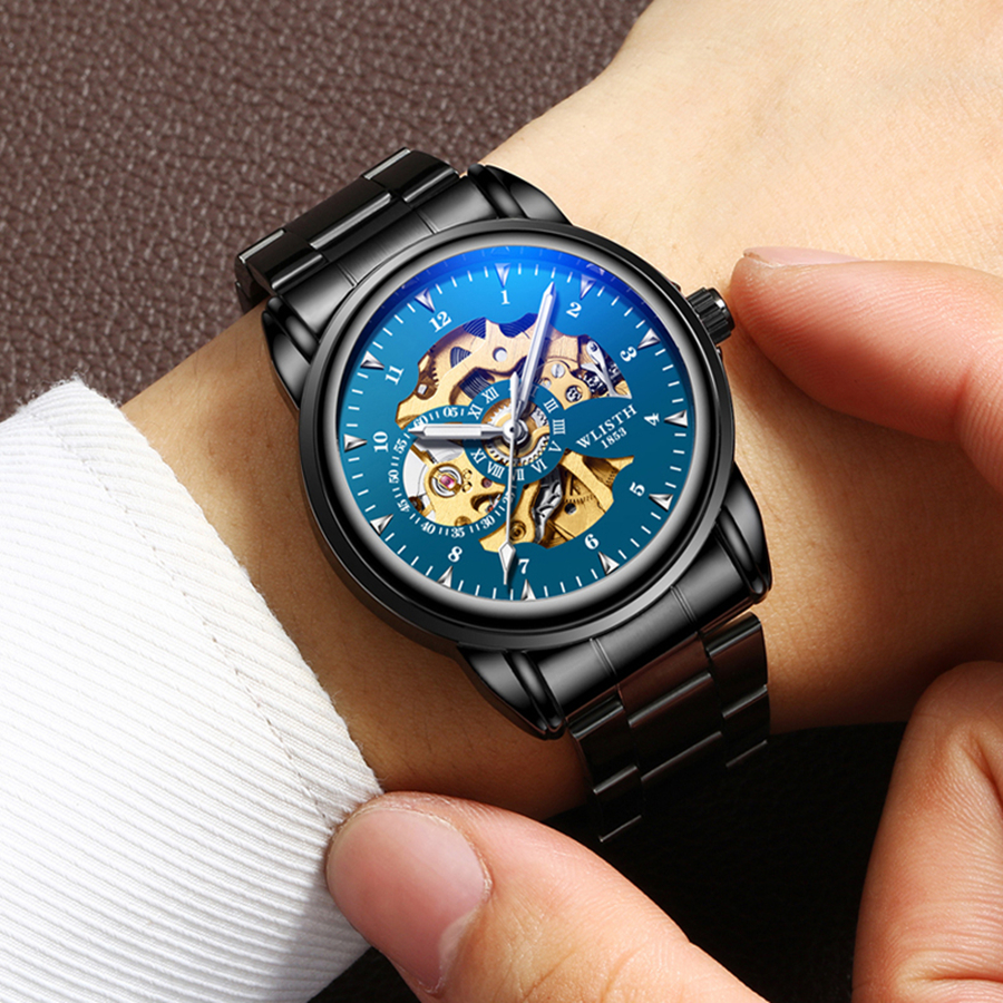 WLISTH Luxury Hollow Automatic Watch Men Waterproof Mechanical ...