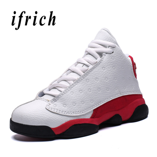New Basketball Shoes Kids White Red Basketball Children Sneakers Comfortable Boy Training Shoes Rubber Sole Basket Shoes Kids