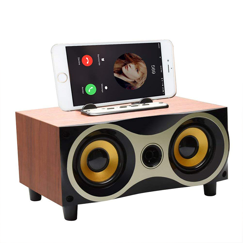 Top Deal Desktop Portable Wooden Wireless Speaker Subwoofer Stereo Bluetooth Speakers Support TF MP3 Player With FM Radio, Phone
