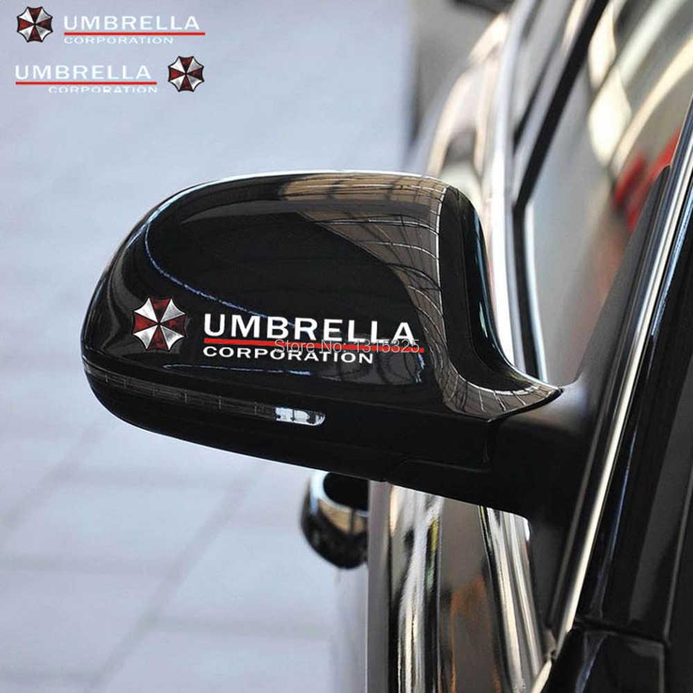 Aliauto 2 x Umbrella Corporation, pegatinas reflectantes para coche, calcomanía para el espejo retrovisor para Ford Chevrolet Vw Skdoa Golf Hyundai, Kia, Lada