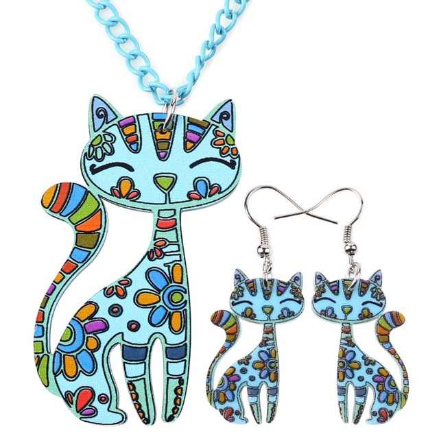 Cat Pendant Drop Earrings Fashion Jewelry For Women Charm Collar Accessories
