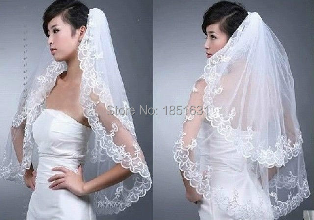 New Elegant 2 Layer White Beads Wedding Bridal Lace Veil With Comb Wedding Accessories Wedding Veil.jpg