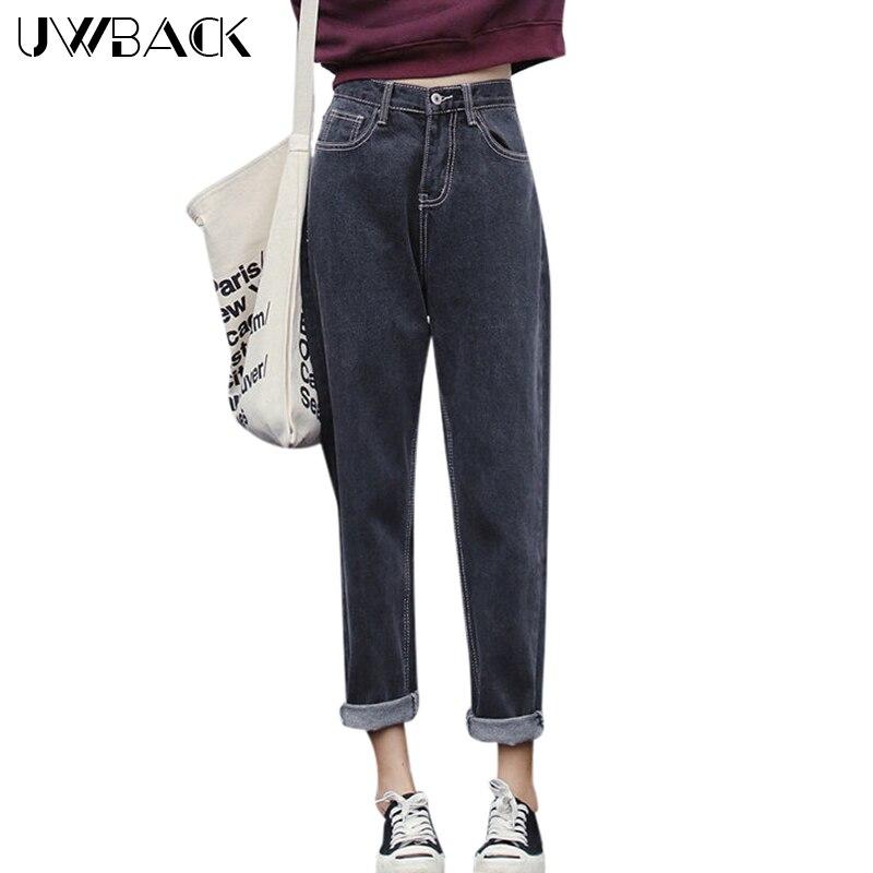 Uwback Femmes Jeans Pantalon Cendres Noir Denim Pantalon 2018 Nouveau Printemps Femelle Cru Pantalon Casual Harem Pantalon Slim, EB495