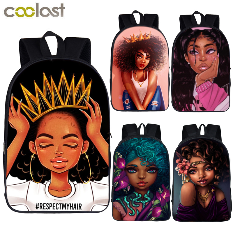 Afro Lady Girl Backpack Africa Beauty Princess Girls Children School Bags For Teenager Brown Girl School Backpack Women Book Bag