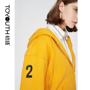 Image 2 - Toyouth dresy dla kobiet bluzy z kapturem list bluzy z nadrukiem moda damska żółty fioletowy znosić bluza z kapturem