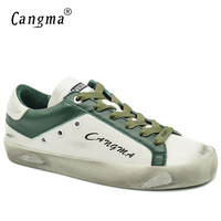 CANGMA Luxury Women Flats Solid Casual Shoes Spring Autumn Bass White Green Genuine Leather Vintage Woman