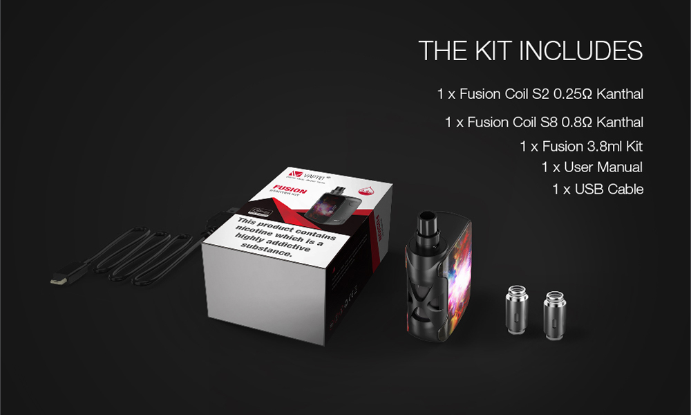, Electronic cigarette Original Vaptio Fusion 3.8ml/SP vape kit with 1500mAh built in battery 3.8ml/2ML Atomizer output power 50w