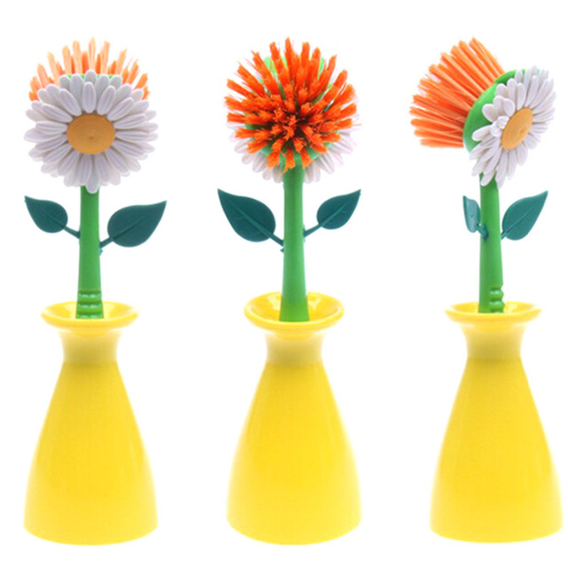 best 2016 sun flower kitchen cleaning brush pan pot brush 1 pcs multi bathroom plastic brush - Multi Bathroom 2016