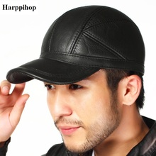 Sheep quality genuine leather male hat first layer of cowhide plus cotton autumn and winter outdoor the middle-age baseball cap cowhide baseball cap male autumn and winter genuine leather hat thermal thickening male cotton earmuffs winter hat