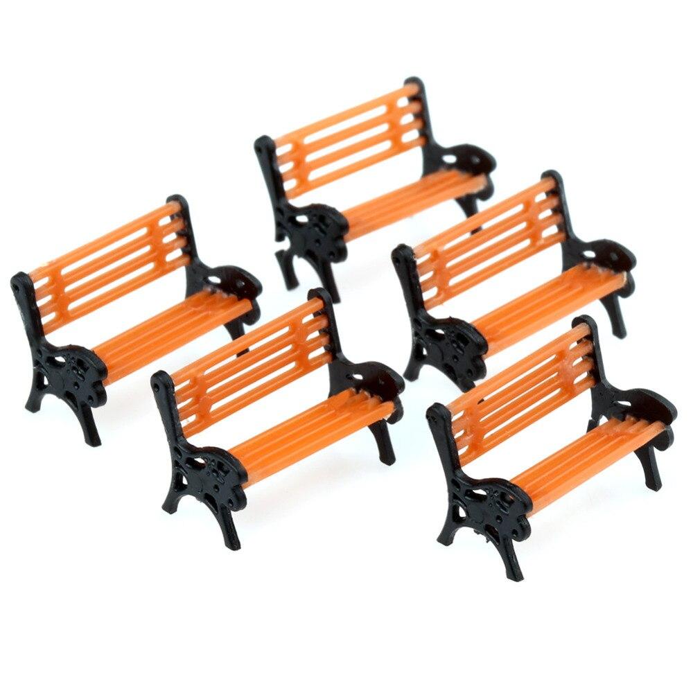5 Plastic Model Train Station Park Bench Platform settee 1:150 Orange Black Arms