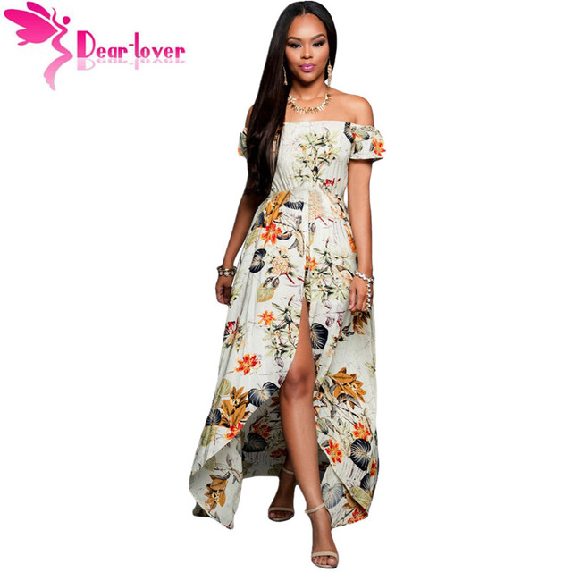e6750d9754b9 Dear Lover Off-Shoulder Jumpsuit Women Boho Style 2018 summer Beige  Multi-color Floral Maxi Romper Overall vestido largo LC64076