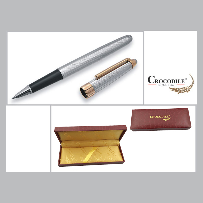 High-grade Stationery Promotion Crocodile 136 Silver and Gold Roller Ball Pen with 0.7mm Black Ink Refill Luxury Ballpoint Pens crocodile crocodile cr367r black gold