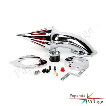 Motorbike Chrome Aluminum Cone Spike Air Cleaner Kit Motorcycle Air Filter Intake Induction Kit For Honda VTX 1300 VTX1300 image