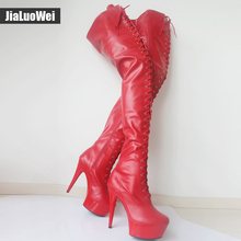 jialuowei 15cm High Heel Stiletto Platform Thigh High Black Red Latex Lace Up Stripper Boots Heels Sexy Feitsh Shoes Plus Size