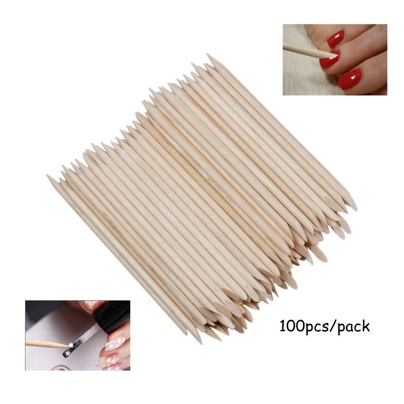 100 Pcs/Pack Nail Art Orange Wood Sticks 11.5cm(4.52in) Long Sticks Cuticle Pusher Remover Manicure Pedicure Care Tools @WS-001#