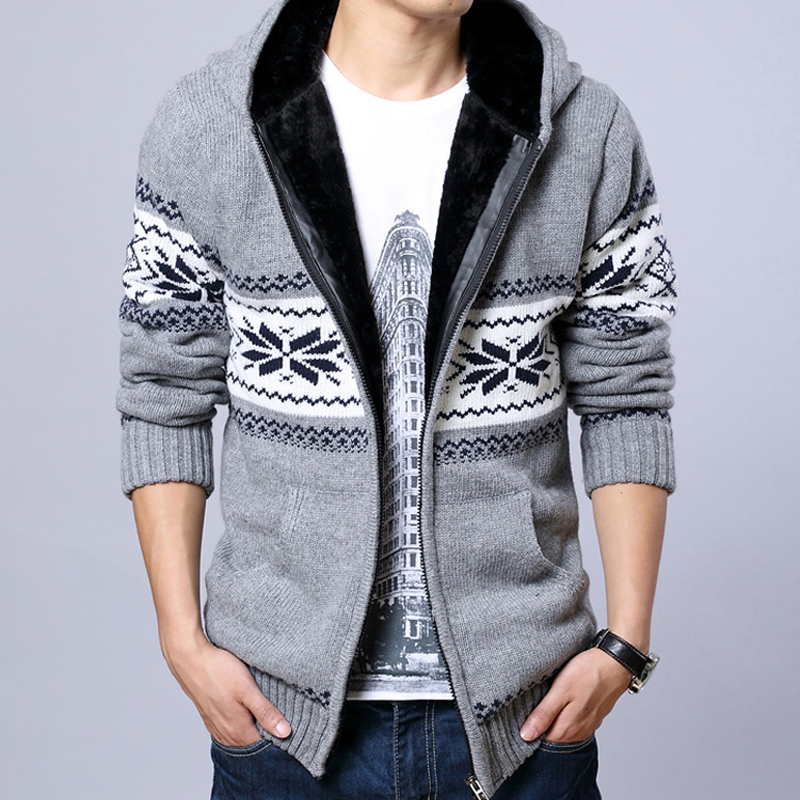 Mens Hooded Cardigan Thick Sweater Men Long Sleeve Sweaters ...