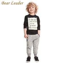 Лидер медведь Ребенок мальчик одежда 2016 Новые Зимние и Осенние Темно-серый с длинным рукавом футболка + повседневная длинные брюки 2 шт. костюм дети одежда