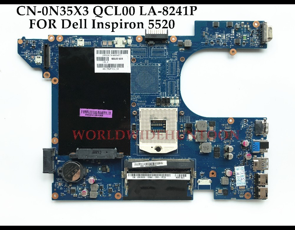 High quality QCL00 LA-8241P For Dell Insprion 5520 Laptop Motherboard CN-0N35X3 0N35X3 HM76 PGA989 DDR3 100% Fully Tested nokotion cn 0n35x3 0n35x3 laptop motherboard for dell 15r 5520 notebook pc main board system board la 8241p ddr3