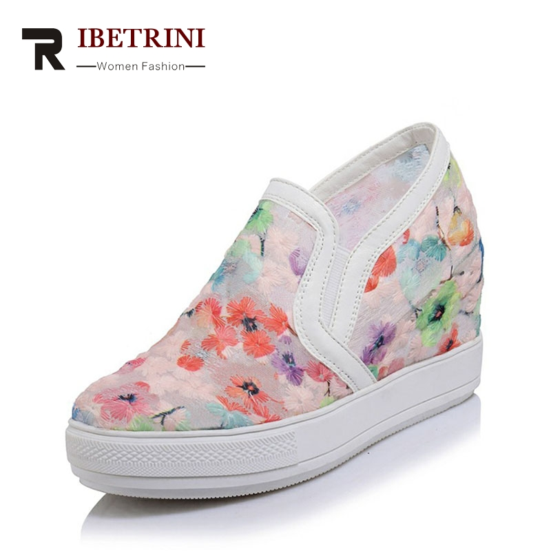 RIBETRINI 2018 summer sweet breathable platform loafers flower women shoes with high increase internal plus size 32-45 plus size women footwear shoes star hollow platform loafer shoes summer breathable students casual flat with shoes increase shoe
