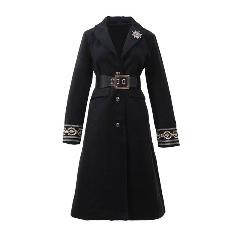 E Impermeabili Inverno Collare Del Vintage Sash C0060 Monopetto Imbottiture Turn Nero Cappotto Elegante Tasca Una Donne Delle Di Trench Linea Outwear qv0FYTY