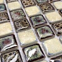 Black And White Porcelain Mosaic Kitchen Backsplashl Tile HMCM1009M Bathroom Porcelain Floor Tiles Unique Ceramic Mosaic