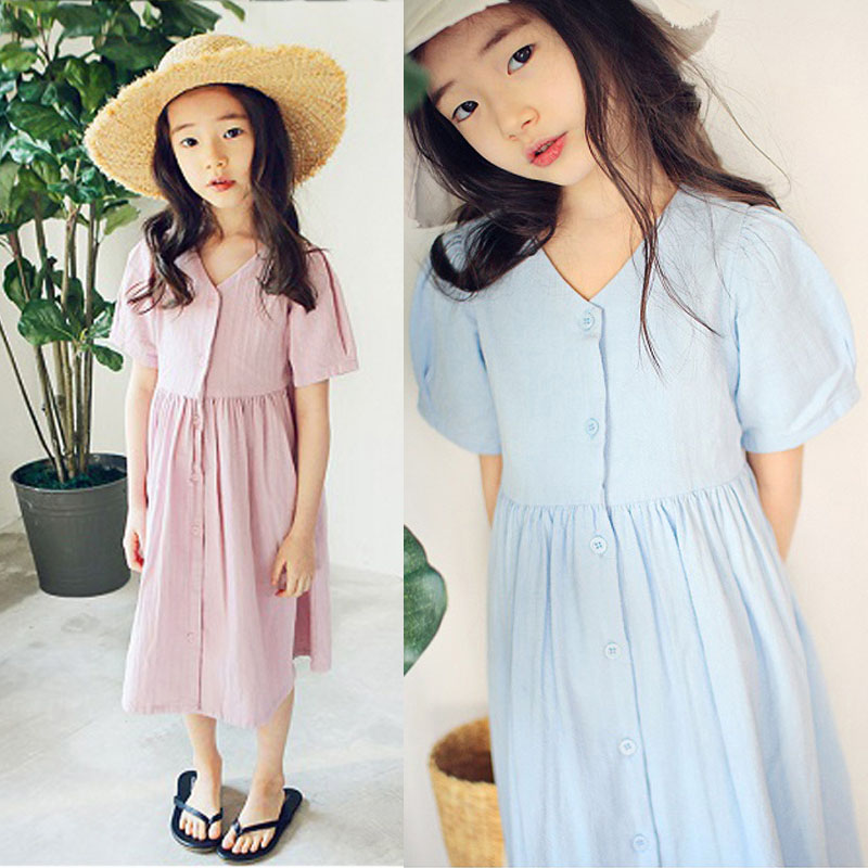 Long Summer Dresses Casual Teenage Girl Clothing Pink Blue Maxi Toddler Girls Dresses 2020 Cotton Mother Daughter Clothes Dresses Aliexpress