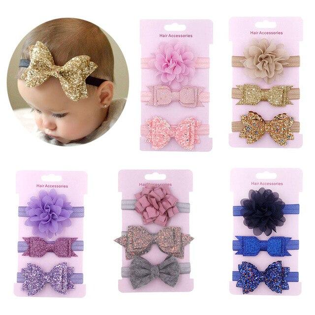 3 Pcs/Lot  Baby Headband Crown Flower Bows Girl Newborn Hair Accessories Elastic Band Turban 1