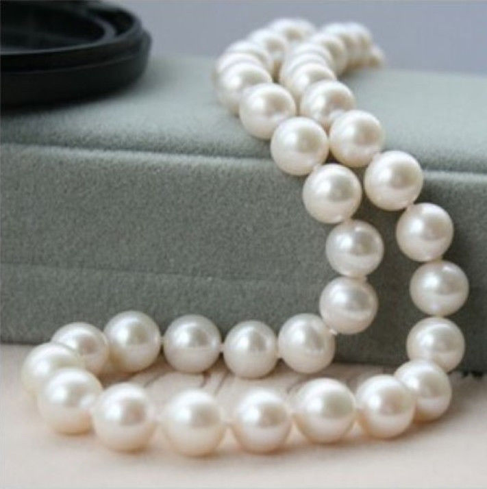 FREE SHIPPING HOT sell new Style >>>> 9-10mm White Akoya Cultured Pearl Necklace 18