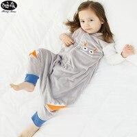صور الكرتون الفانيلا الدافئة كيس النوم الاطفال منع ركلة لحاف طفل بطانية النائم الأطفال القدمين قطعة واحدة منامة