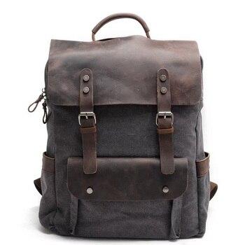 """Vintage Canvas Backpacks for Men 14"""" Laptop Daypacks Neutral Portable Leather School Bag Rucksacks Large Travel Bag Back Packs"""