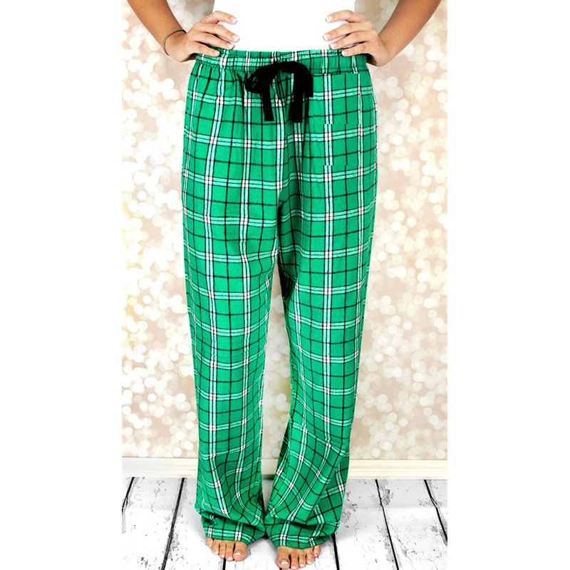 La MaxZa Plaid Pants Women 2018 Autumn Spring Loose Fashion High Quality Green Red Casual Ladies Drawstring Trousers 202002