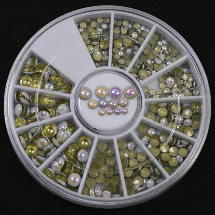 Acrylic 1000 cái/bộ 3 kích thước Trắng Nhiều Màu Đinh Tán Nail Nghệ Thuật Long Lanh Rhinestone Trang Trí dán công cụ