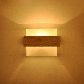Massief Hout Moderne LED Wandlamp Glas Lampenkap Licht armaturen Bed Licht Woonkamer Hotel Wandkandelaar Licht Thuis Decor