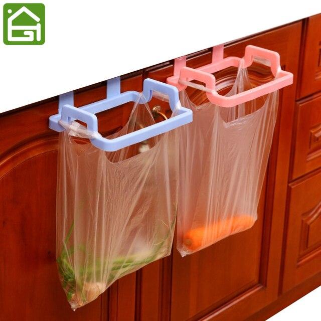 Kitchen Garbage Hanging Bag Plastic Cabinet Door Organizer Cupboard Towel  Holders Trash Bag Hanger Storage Shelf