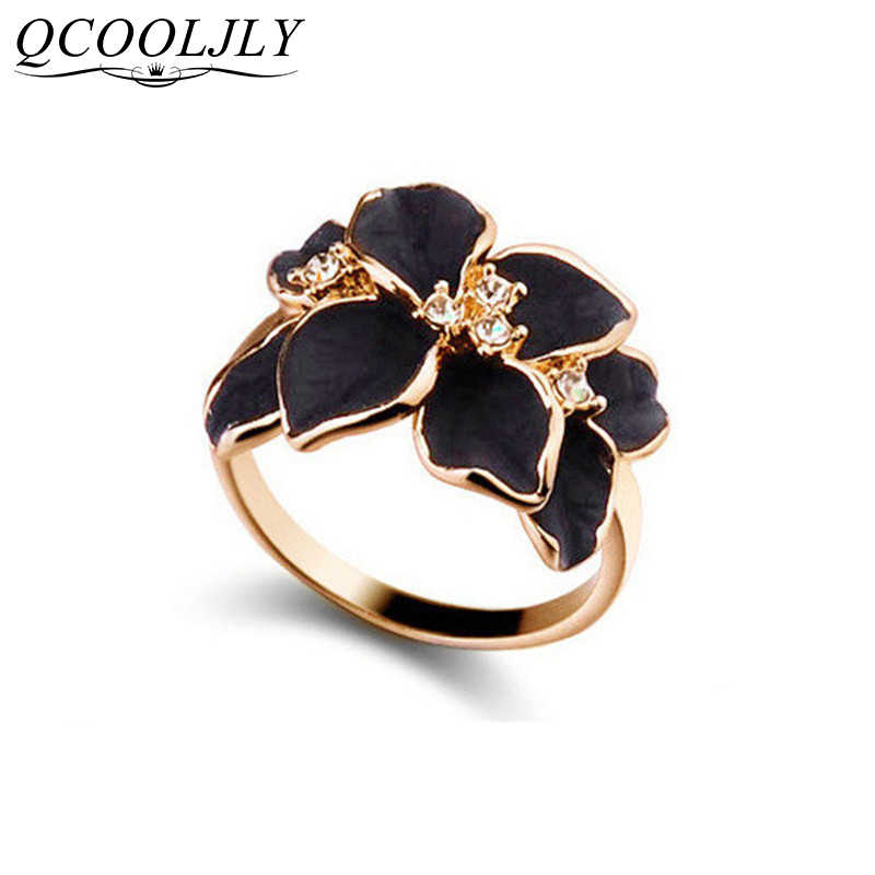 QCOOLJLY Hotting Sale Jewelry Ring With Rose Gold Color Austrian Crystal Black Enamel Flower Wedding Rings For Women