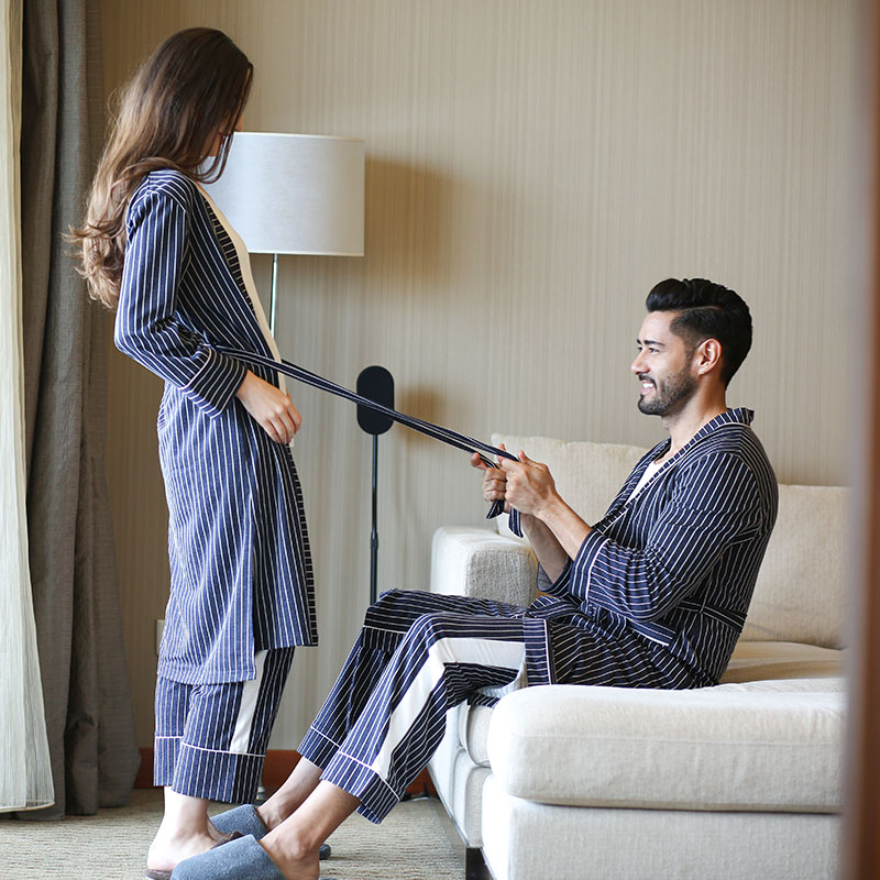 Couple Bathrobe 2018 Spring Autumn Brand Home Female Male Robe With Striped Blue Japan Three-Piece Set Couple Japanese Bathrobe