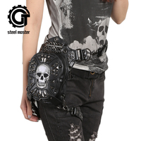 Gothic Steampunk Skull Bag 2017 Women Messenger Bag Leather Rivet Waist Leg Bags Fashion Retro Rock