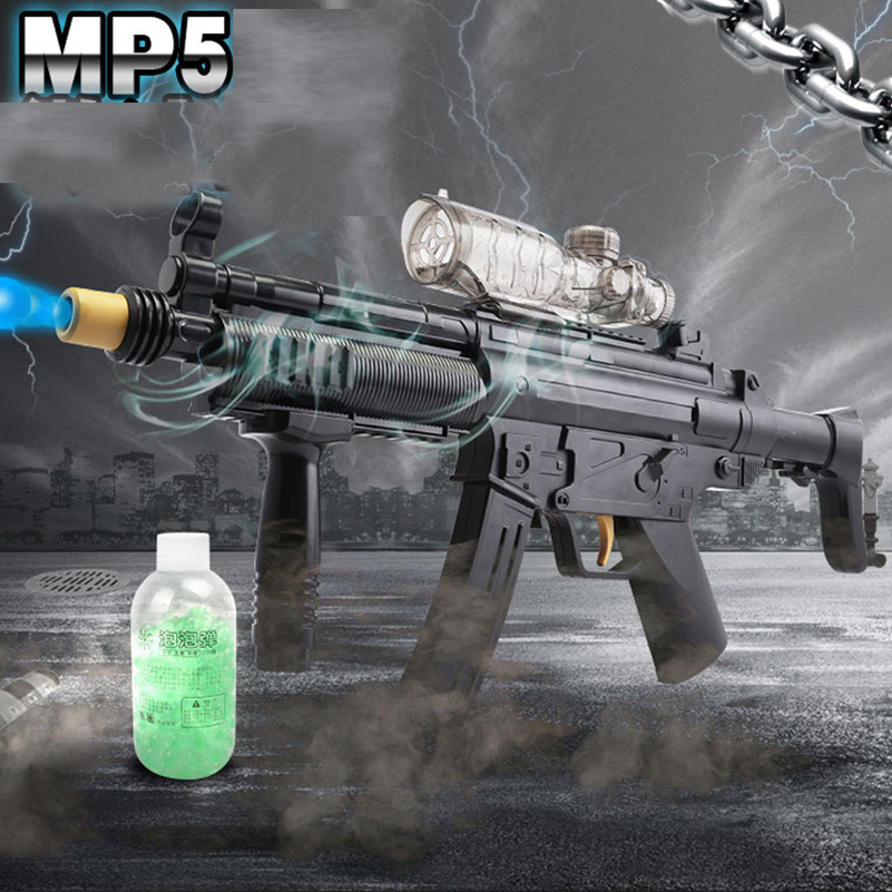 ФОТО MP5 Water Guns Electric Sniper Toy Guns Outdoor Live CS Toys Water Bullet Cool Black Toy Guns Outdoors Battle Toys For Children