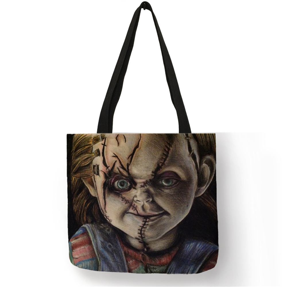Unique Design Totes Female Male Horror Chucky L Printed Linen Shoulder Bag Reusable Shopping Bags Traveling Beach Casual Handbag