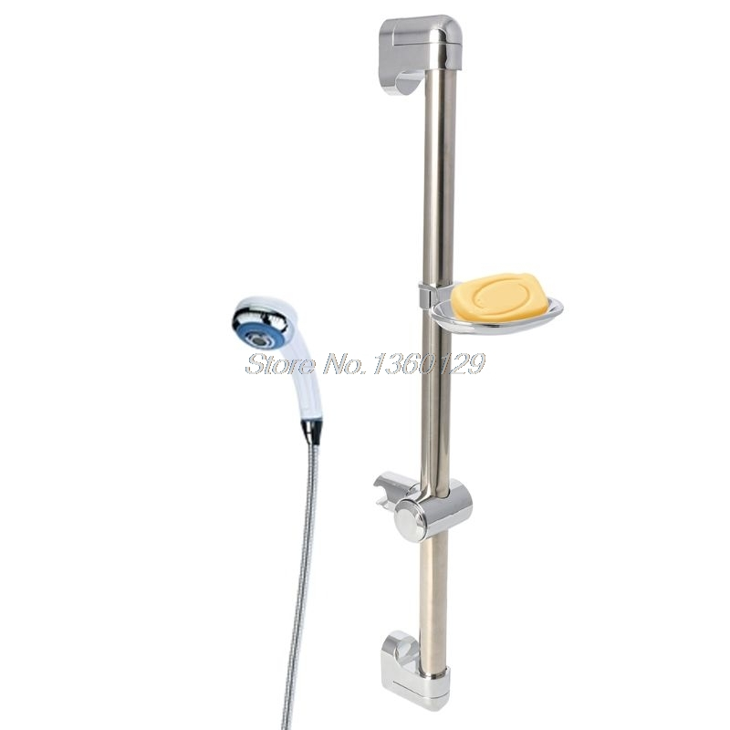 Stainless Steel Shower Head Holding Rod With Soap Box Adjustable Lifting Rods