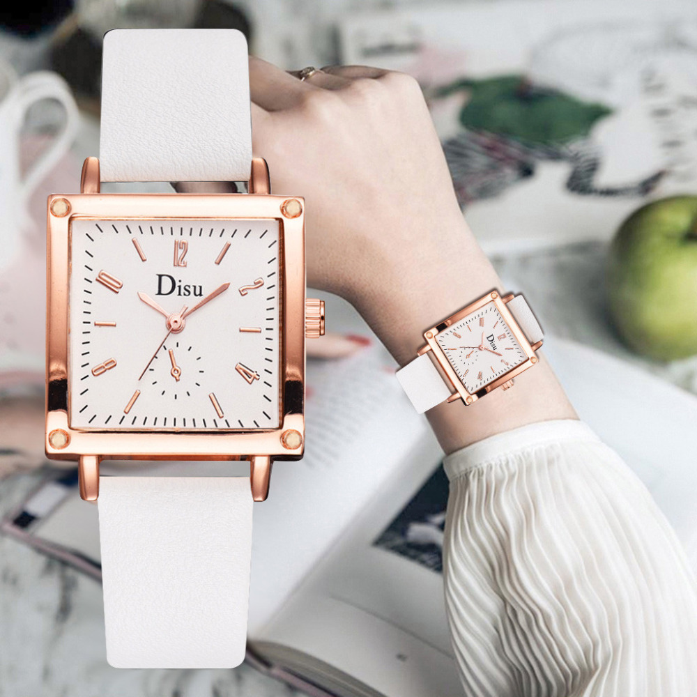 Luxury Brand Square Dial Ladies Watch Fashion Women Watches Girl Gift Clock Dress Leather Quartz WristWatch Zegarek Damski 2019