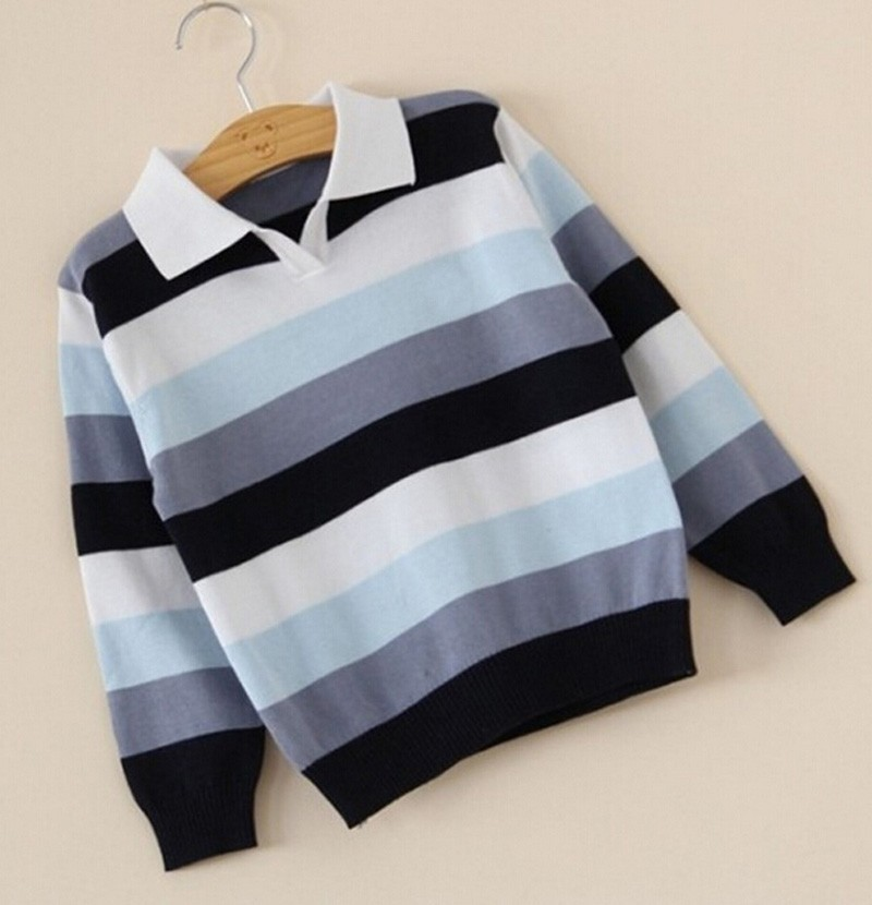Baby boy sweater Stripe fashion brand Spring Autumn children clothes V-neck designer party kid Casual sweater camiseta infantil (3)
