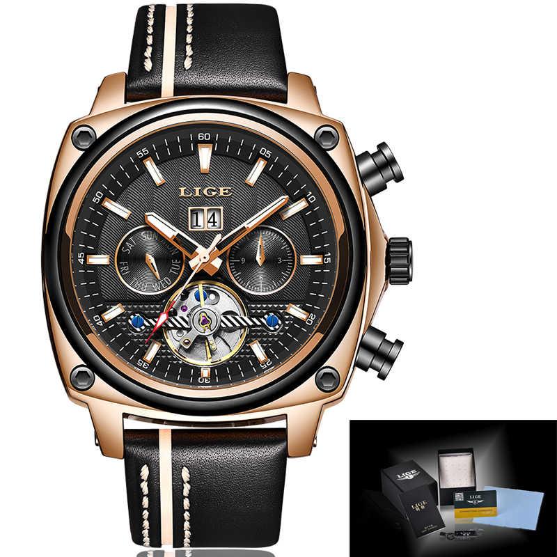 Relojes para Hombre marca LIGE reloj mecánico automático reloj Tourbillon deportivo de cuero Casual de negocios Retro reloj de pulsera Relojes para Hombre