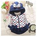 Новый год осень зима девушки одежды хлопка куртки 0-2 год старые девушки теплое пальто/маленький цветок ткань бабочка узел/дези