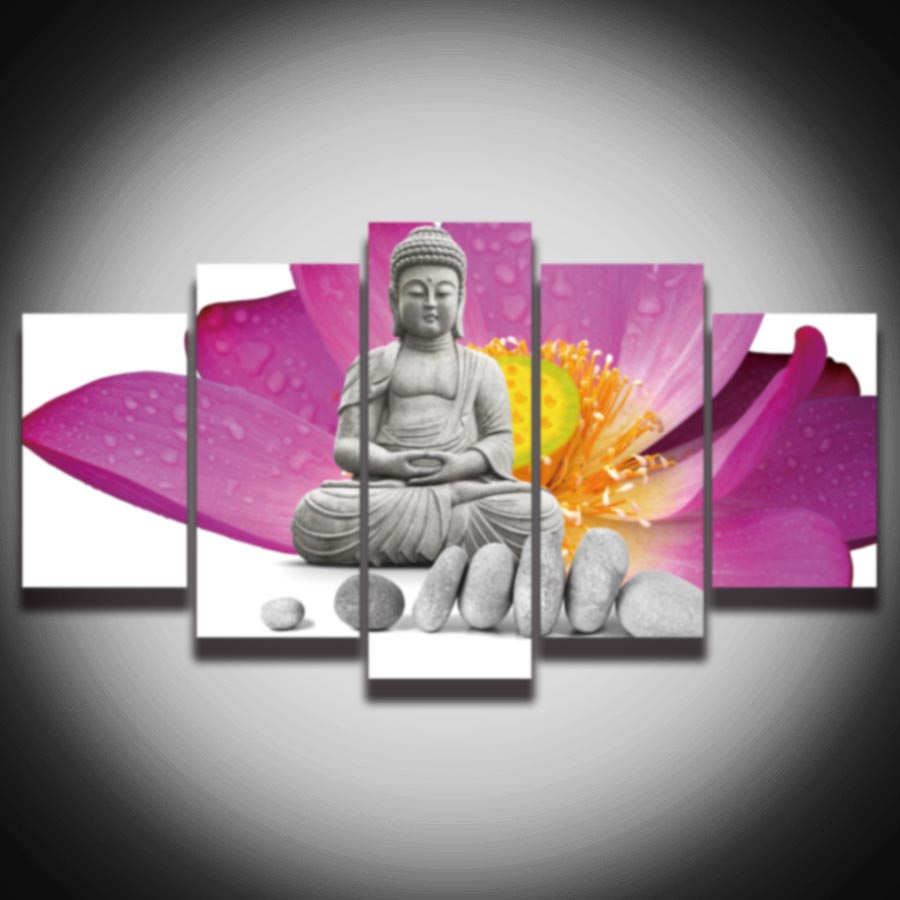 On Sale Promotion 5 Pieces Canvas Art Lotus Buddha Spray Painting Modern Wall Decorations For Home Decoration Wholesale