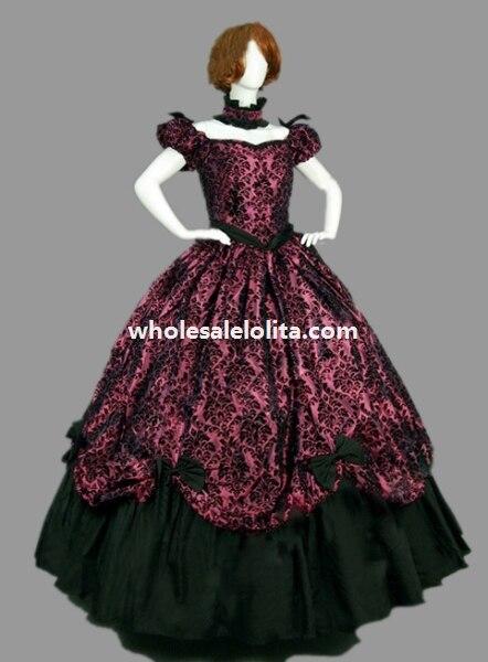 Платье в викторианском стиле из парчи и хлопка - Цвет: purple
