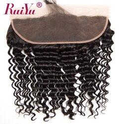 13x4 الأذن إلى الأذن الدانتيل إغلاق أمامي مع شعر الطفل البرازيلي عميق نسج ريمي الشعر البشري أمامي 150% كثافة شعر RUIYU